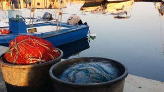 Reti dei pescatori di Cagliari, nel porto